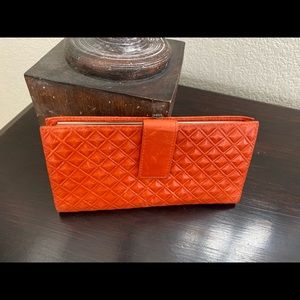 HOBO Leather Pumpkin Pleated Wallet w/ Coin